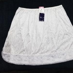 Vanity Fair White Half Slip Side Slit Lace Border